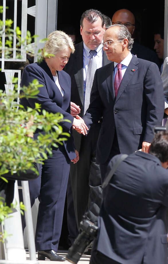 Mayor Annise D. Parker shakes hands with President of Mexico Felipe Calderon after a private meeting at City Hall on Wednesday, April 25, 2012, in Houston. Photo: Mayra Beltran, Houston Chronicle / © 2012 Houston Chronicle