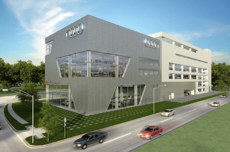 An artist's rendering of the new Audi dealership to go up along the Southwest Freeway could include design elements to showcase vehicles, one official said. Photo: Handout