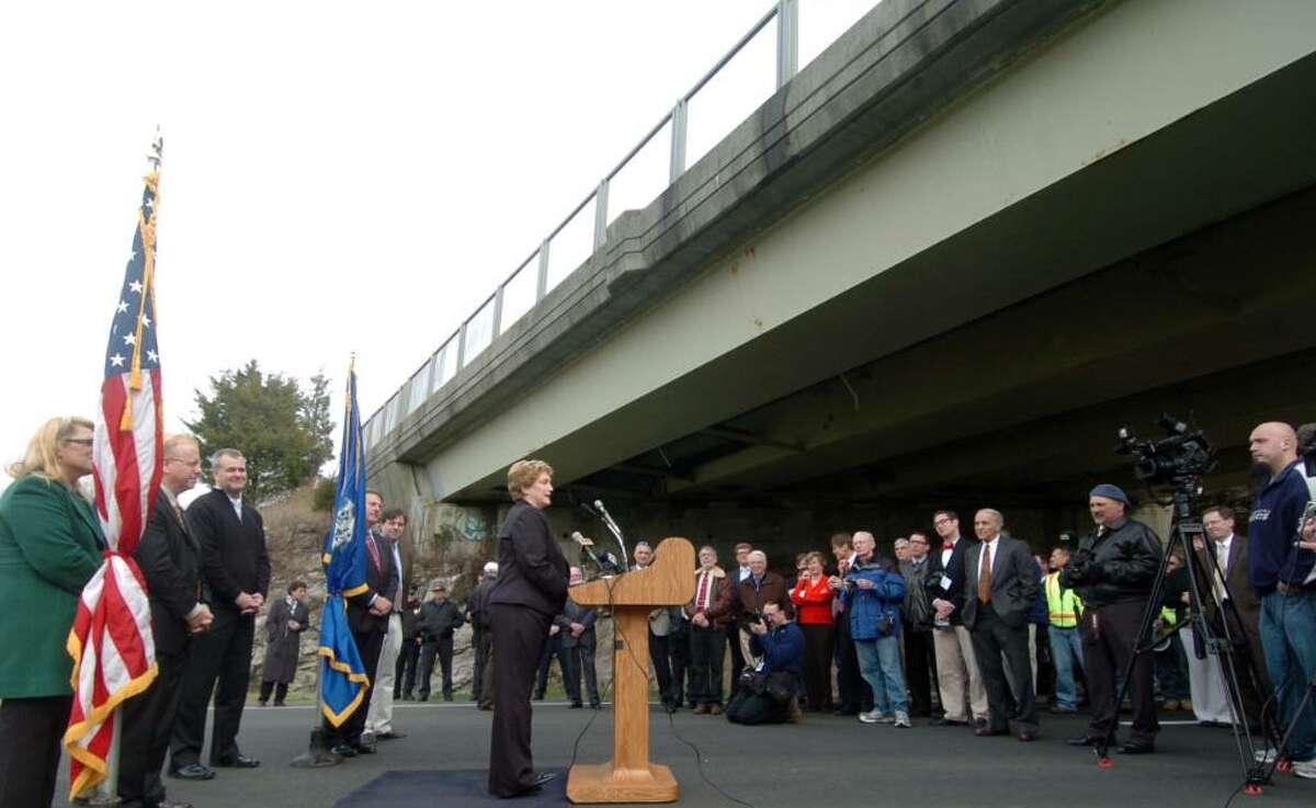 Governor M. Jodi Rell speaks at the ribbon-cutting ceremony for the opening of the long-awaited Route 7 bypass Thursday, Nov. 19, 2009.