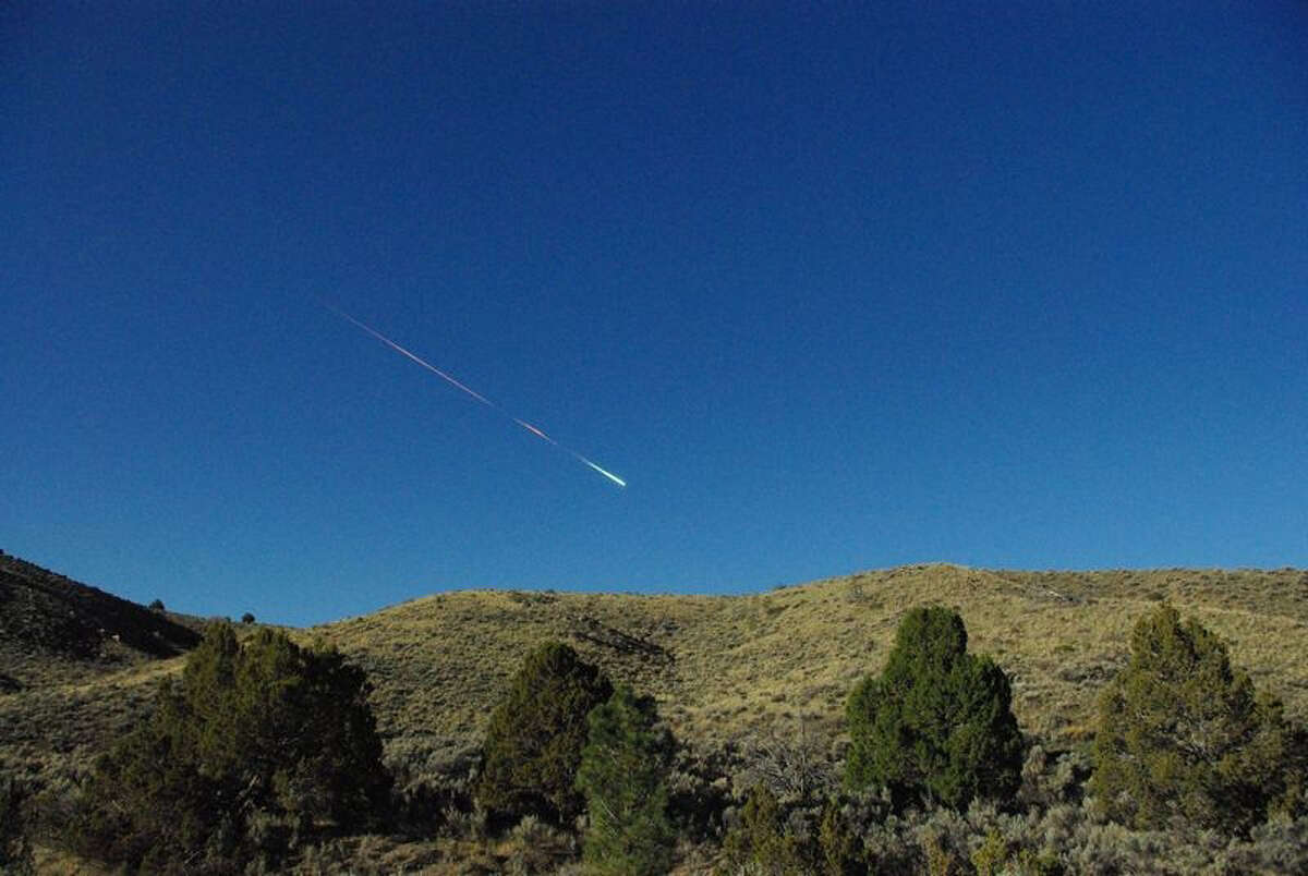 This image provided by NASA's Jet Propulsion Laboratory shows a meteor over Reno on April 22, 2012. The space rock-turned-flaming meteor entered Earth's atmosphere about 8 a.m. that day. Reports of the fireball have come in from as far north as Sacramento and as far east as north Las Vegas. Bill Cooke of the Meteoroid Environments Office at NASA's Marshall Space Flight Center in Huntsville, Ala., estimates the object was about the size of a minivan, weighed about 70 metric tons and at the time of disintegration released energy equivalent to a 5-kiloton explosion.