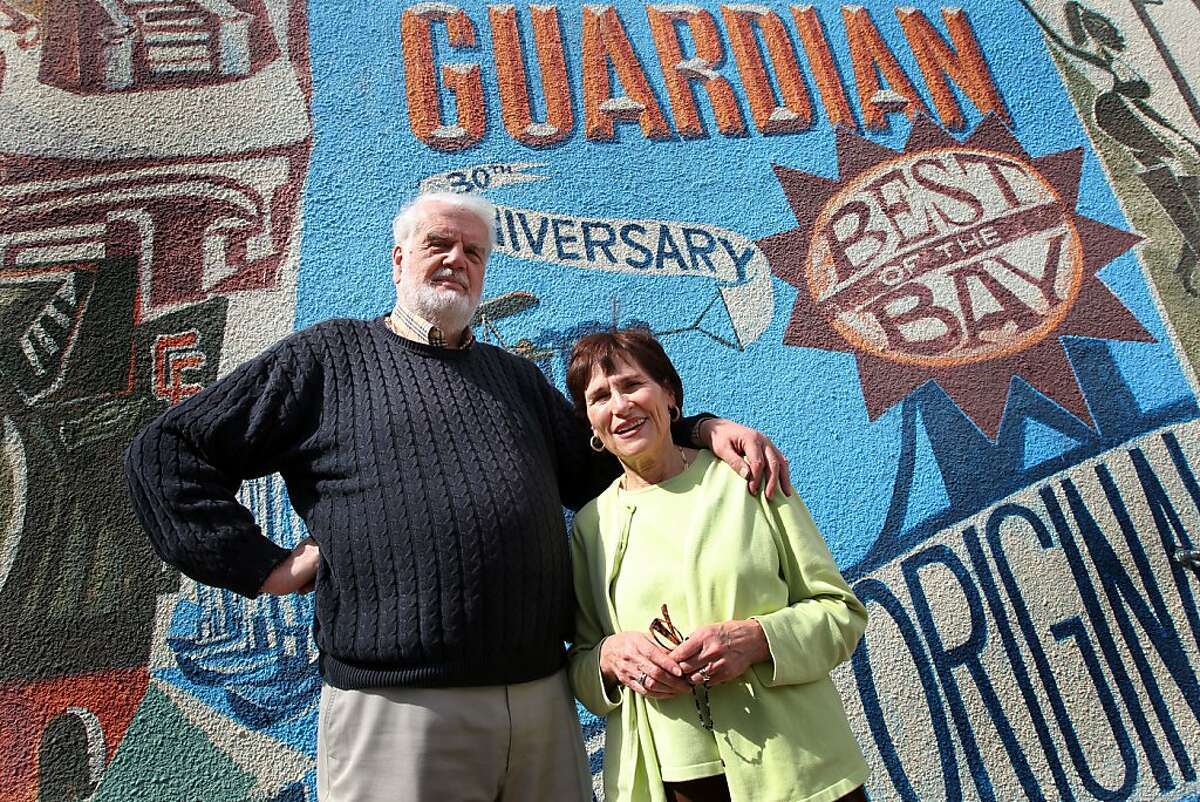 Founders and former publishers of the Bay Guardian newspaper, Bruce Brugmann and his wife, Jean Dibble, stand outside their San Francisco office after the announcement of the sale of the Guardian to the San Francisco Examiner, Wednesday, April 25, 2012 in San Francisco Calif.