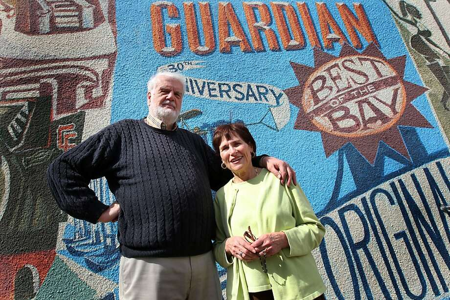 Founders and former publishers of the Bay Guardian newspaper, Bruce Brugmann and his wife, Jean Dibble, stand outside their San Francisco office after the announcement of the sale of the Guardian to the San Francisco Examiner, Wednesday, April 25, 2012 in San Francisco Calif. Photo: Lance Iversen, The Chronicle