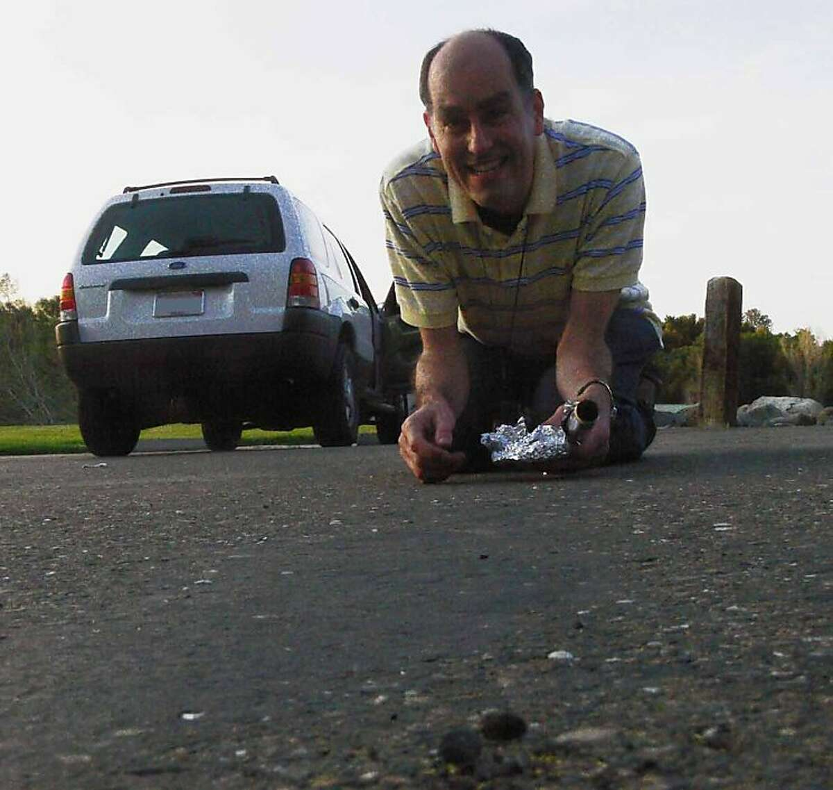Petrus Jenniskens, the same NASA astronomer who trekked across the Nubian desert four years ago to recover fragments of a small asteroid and bring them home, said Wednesday he had found fragments of the space object on the asphalt parking lot of Henningsen? Lotus Park, located in the small town of Lotus in El Dorado County.