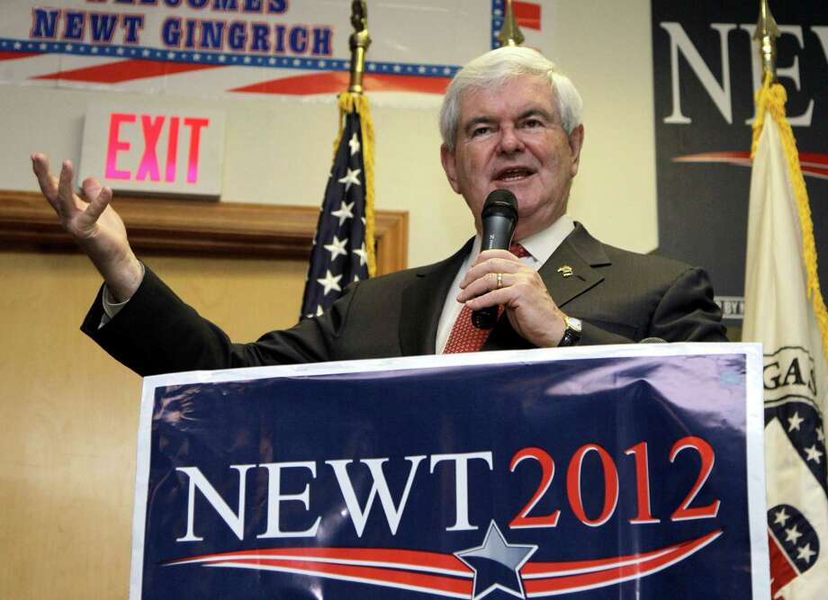 Republican presidential candidate, former House Speaker Newt Gingrich speaks in Cramerton, N.C., Wednesday, April 25, 2012. (AP Photo/Chuck Burton) Photo: Chuck Burton