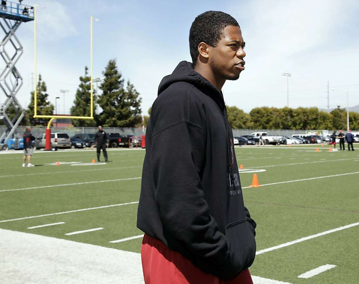 Stanford wide receiver Chris Owusu watches practice during San Francisco 49ers pro day at 49ers headquarters in Santa Clara, Calif., Wednesday, April 18, 2012. (AP Photo/Paul Sakuma)