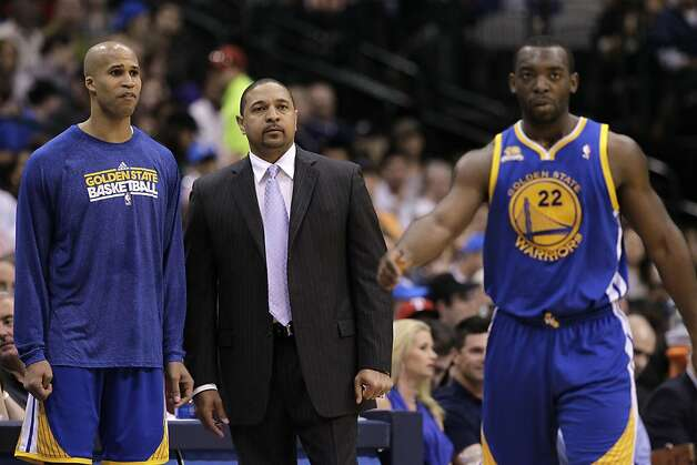 Golden State Warriors' Richard Jefferson, Mark Jackson and Charles Jenkins (22) in the second half of an NBA basketball game against the Dallas Mavericks Friday, April 20, 2012, in Dallas. The Mavericks won 104-94. Photo: Tony Gutierrez, Associated Press