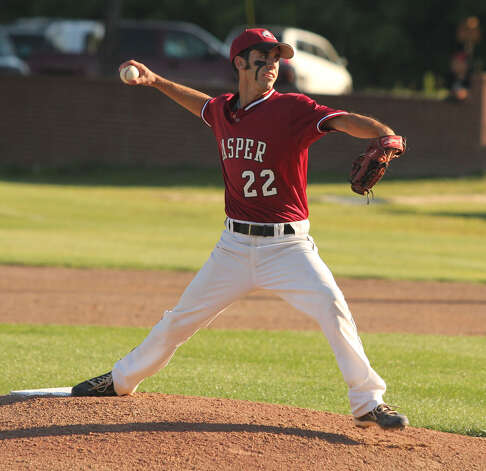 Tyler Bolton fires a pitch home against Center. Photo: Jason Dunn