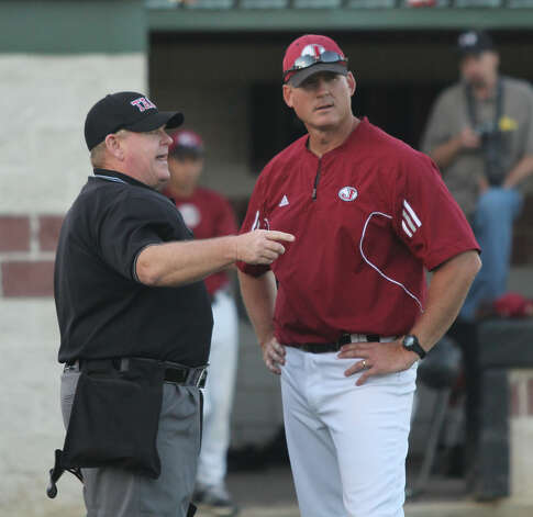 Shawn Mixon has a discussion with the umpire during the victory over Center. Photo: Jason Dunn