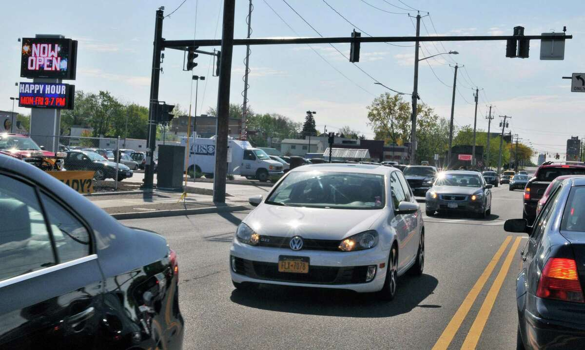 Motorists traveling along Central Avenue around the Capital OTB building experience delays as the new ShopRite supermarket opens Thursday in Albany. (John Carl D'Annibale / Times Union)