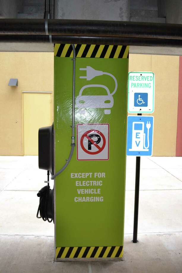 This is one of two electric vehicle charging stations.