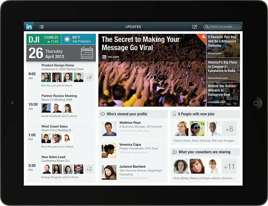 LinkedIn late Wednesday released an iPad app that for the first time weaves a member s personal calendar into the news updates and contact information offered by the professional social network. Photo: Linkedin.com