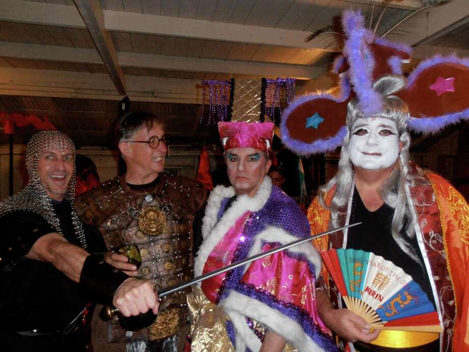 "Randy Caddell, from left, Dwight Hobart, Arturo Almeida and Alan Beckstead get into character before the back yard production of ""Turandot"" to benefit the Artists Foundation. / Photo by Nancy Cook-Monroe"