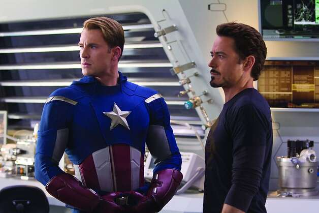 """Marvel's The Avengers"" (L-R) CAPTAIN AMERICA (Chris Evans), TONY STARK (Robert Downey Jr.) Ph: Zade Rosenthal ""Marvel's The Avengers"" (L to R) CAPTAIN AMERICA (Chris Evans) and TONY STARK (Robert Downey Jr.) Photo: Zade Rosenthal, Disney"