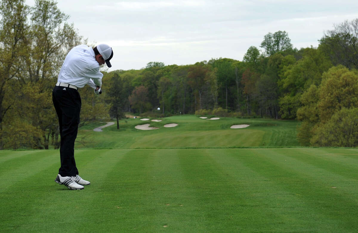 Greenwich's Danny Guise plays in the Brunswick Invitational golf tournament at Round Hill Club in Greenwich on Thursday, April 26, 2012.