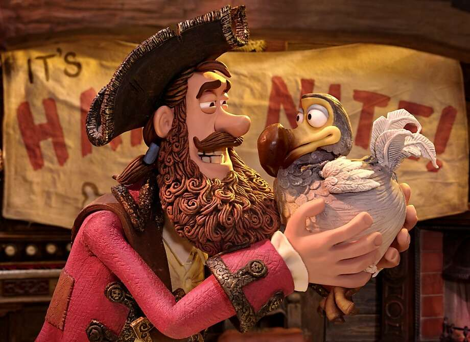 The Pirate Captain (voiced by Hugh Grant) with Polly in THE PIRATES! BAND OF MISFITS, an animated film produced by Aardman Animation for Sony Pictures Animation. Photo: Aardman Animations For Sony Pict