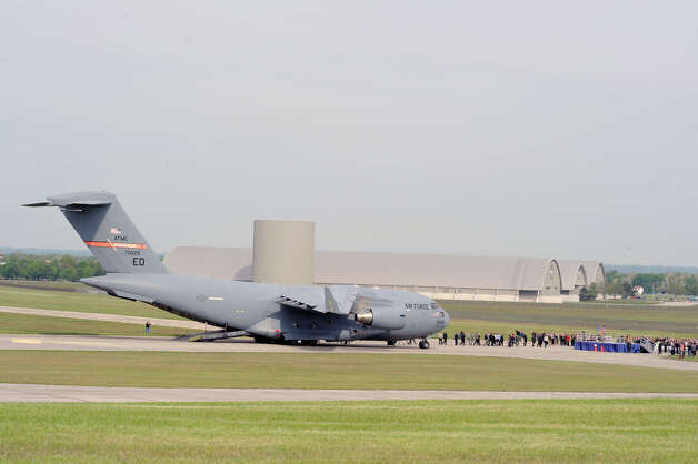 The U.S. Air Force's first Boeing C-17 Globemaster III arrives at the National Museum of the U.S. Air Force, in Dayton, Oh