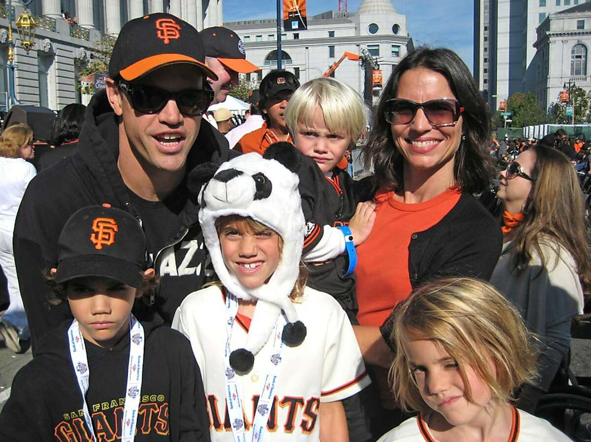 Robert Mailer Anderson (at left) with his family, wife Nicola Miner holding youngest son, Callum and his siblings (front row, from left) Dashiell, Lucinda and Frances Anderson at the Giants World Series Victory Parade. Nov. 2010.