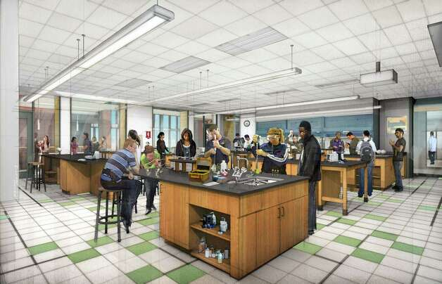 A rendering shows a teaching lab planned for Trinity's new facility. Photo: Trinity University Photo