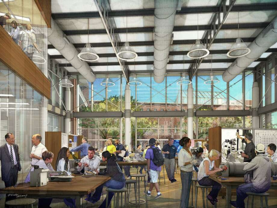 A rendering shows the innovation studio planned for Trinity's new facility. Photo: Trinity University Photo