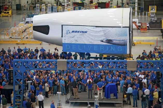 Boeing's 787 assembly line in North Charleston, S.C., receives its first 787 aft body section on Aug. 22, 2011. Photo: Alan Marts / Copyright © 2012 Boeing. All Rights Reserved.