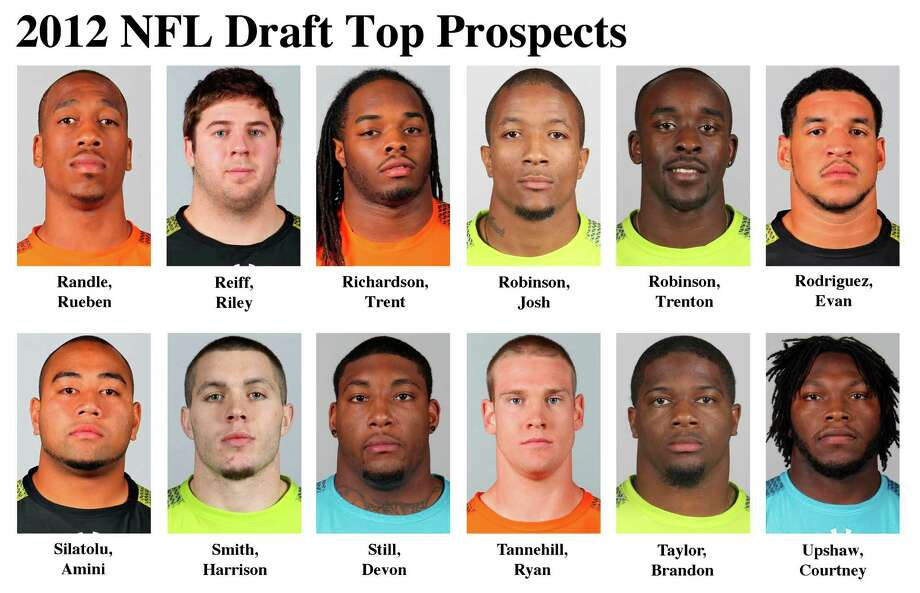 FOR USE AS DESIRED WITH NFL DRAFT STORIES - In these photos taken in February 2012 top NFL Draft prospects are shown at the  NFL scouting combine at Lucas Oil Stadium in Indianapolis. They are, top row, from left, Rueben Randle, WR, LSU; Riley Reiff, OT, Iowa; Trent Richardson, RB, Alabama; Josh Robinson, CB, UCF; Trenton Robinson, FS, Michigan State; and Evan Rodriguez, FB, Temple. Bottom row, from left, Amini Silatolu, G, Midwestern State; Harrison Smith, S, Notre Dame; Devon Still, DT, Penn State; Ryan Tannehill, QB, Texas A&M; Brandon Taylor, S, LSU; and Courtney Upshaw, LB, Alabama. (AP Photo/Ben Liebenberg) MAGS OUT, NO SALES Photo: AP