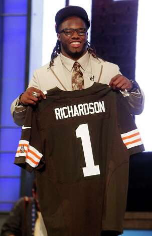 Alabama running back Trent Richardson poses for photographs after being selected as the third pick overall by the Cleveland Browns in the first round of the NFL football draft at Radio City Music Hall, Thursday, April 26, 2012, in New York. Photo: AP