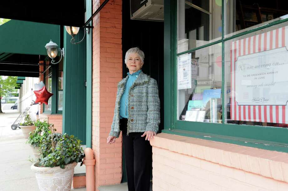 Sheila May, owner of Therese Saint Claire, stands outside her store Thursday, Apri 26, 2012.  The store is moving their business from 23 Lewis St., to 96 Greenwich Ave., in Greenwich, Conn. The new store be open on the Memorial Day weekend. Photo: Helen Neafsey / Greenwich Time