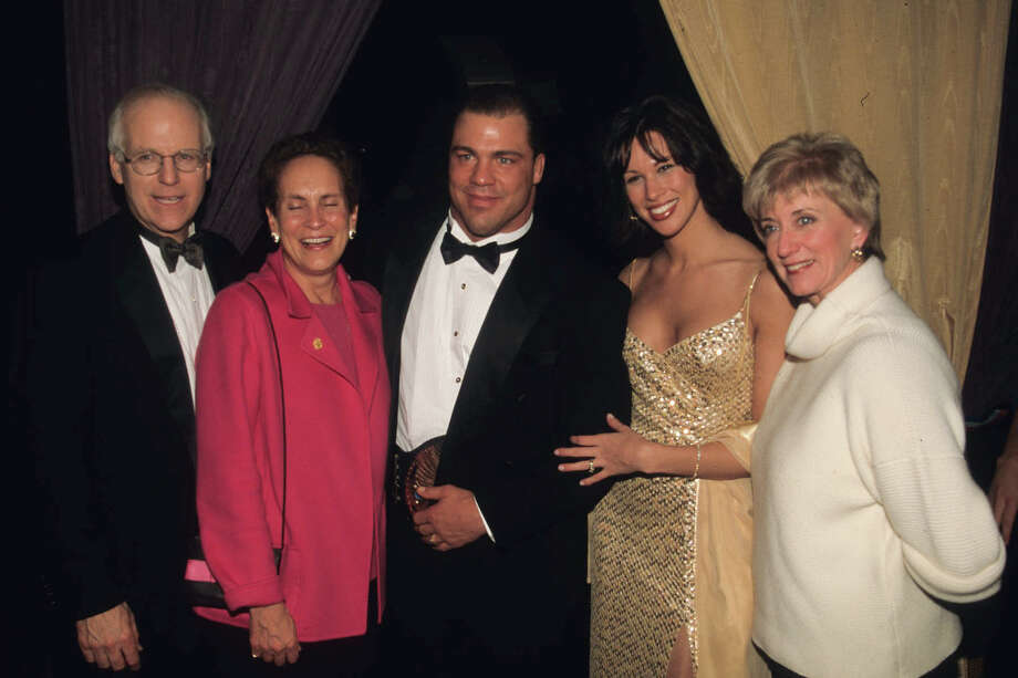 From left, then-U.S. Rep. Christopher Shays and his wife Betsi, then-WWE superstar Kurt Angle, Angle's then-wife Karen (the two have since split up), and then-WWE Chief Executive Linda McMahon at a SmackDown Your Vote gala in Washington, D.C., in January 2001. Photo: Contributed Photo