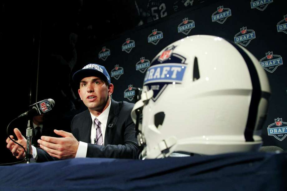 Stanford quarterback Andrew Luck speaks to reporters after he was selected as the first pick overall by the Indianapolis Colts in the first round of the NFL football draft at Radio City Music Hall, Thursday, April 26, 2012, in New York. Photo: AP