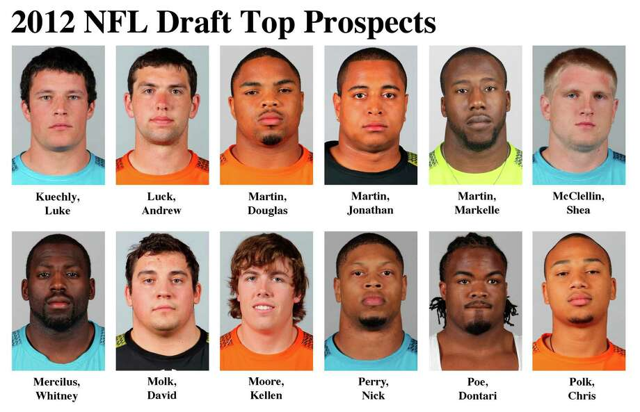 FOR USE AS DESIRED WITH NFL DRAFT STORIES - In these photos taken in February 2012 top NFL Draft prospects are shown at the  NFL scouting combine at Lucas Oil Stadium in Indianapolis. They are, top row, from left, Luke Kuechly, LB, Boston College; Andrew Luck, QB, Stanford; Douglas Martin, RB, Boise State; Jonathan Martin, OT, Stanford; Markelle Martin, FS, Oklahoma State; and Shea McClellin, LB, Boise State. Bottom row, from left, Whitney Mercilus, OLB, Illinois; David Molk, C, Michigan; Kellen Moore, QB, Boise State; Nick Perry, DE, USC; Dontari Poe, DT, Memphis; and Chris Polk, RB, Washington. (AP Photo/Ben Liebenberg) MAGS OUT, NO SALES Photo: AP