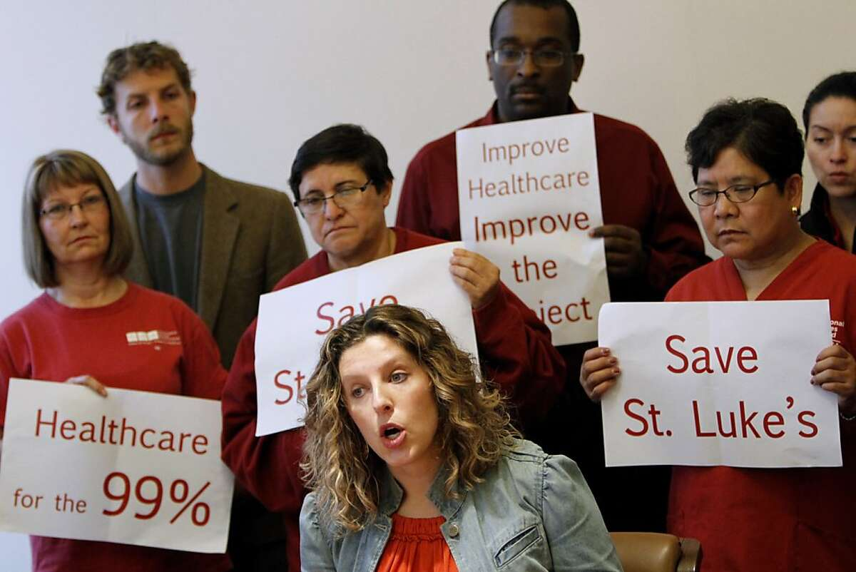 Pilar Schiavo with the California Nurses Association speaks at a press conference before the Planning Commission meeting in San Francisco, Calif., Thursday, April 26, 2012. The Planning Commission was scheduled to vote on the final environmental impact report for California Pacific Medical Center's project to rebuild its medical facilities across the city, plus other proposed zoning changes.