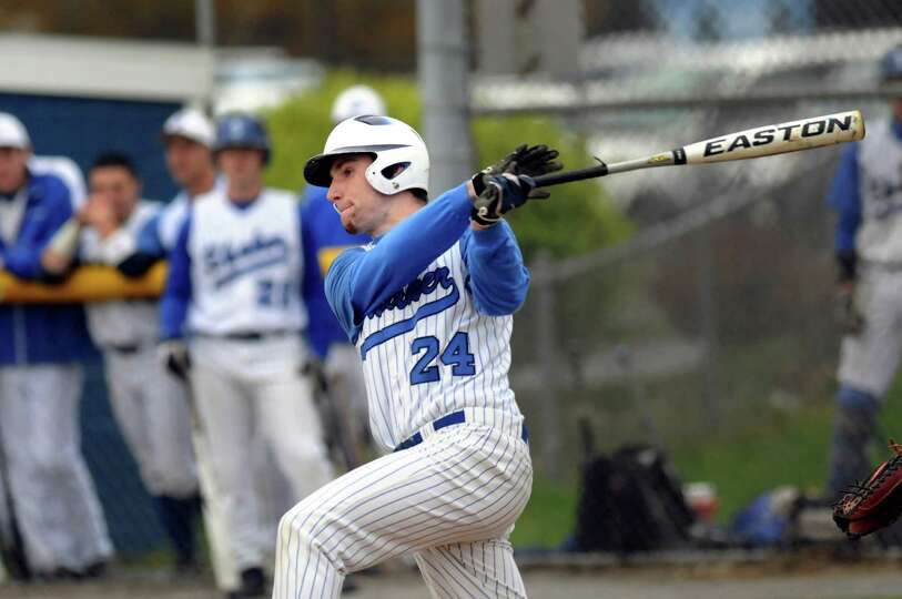 Shaker's Eric Egan (24) connects with the ball during their baseball game against Shenendehowa on Th