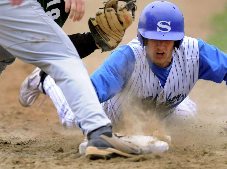 Shaker's Corey McMeel slides safely into third during their baseball game against Shenendehowa on Thursday, April 26, 2012, at Shaker High in Latham, N.Y. (Cindy Schultz / Times Union) Photo: Cindy Schultz / 00017395A