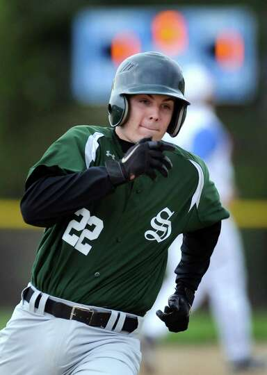 Shenendehowa's Nick Giunta (22) runs the bases during their baseball game against Shaker on Thursday