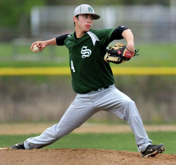 Shenendehowa's Mike Englert (4) winds up the pitch during their baseball game against Shaker on Thur