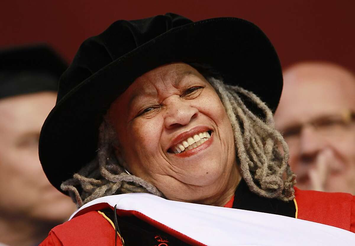 Toni Morrison smiles after delivering a speech during the Rutgers University commencement ceremony, in Piscataway, N.J.