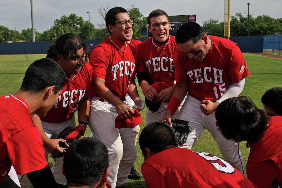 Fox Tech High School varsity baseball players including Jacob Rodriguez, from left, Carlos Rodriguez, Emilio Moreno and Oscar Maldonado get fired up for their last game against Lanier at the SAISD Sports Complex in San Antonio on Thursday, April 26, 2012. Fox Tech lost, 10-0. Lisa Krantz/San Antonio Express-News Photo: Lisa Krantz, Express-News / SAN ANTONIO EXPRESS-NEWS