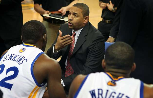 Golden State Warriors' head coach Mark Jackson talks with his team in the first period during their game with the San Antonio Spurs Thursday, April 26, 2012, in Oakland, Calif. Photo: Lance Iversen, The Chronicle