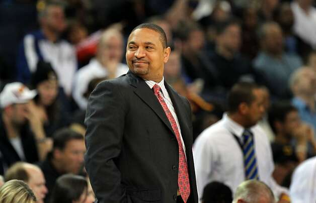 Golden State Warriors' head coach Mark Jackson turns to his bench after a Golden State basket in the 1st period of their NBA  game with the San Antonio Spurs Thursday, April 26, 2012, in Oakland, Calif. Photo: Lance Iversen, The Chronicle