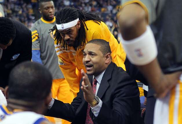 Golden State Warriors' head coach Mark Jackson talks with his five rookies who started their game against the San Antonio Spurs Thursday, April 26, 2012, in Oakland, Calif. The Warriors are the first team in history to start five rookies in a NBA game. Photo: Lance Iversen, The Chronicle