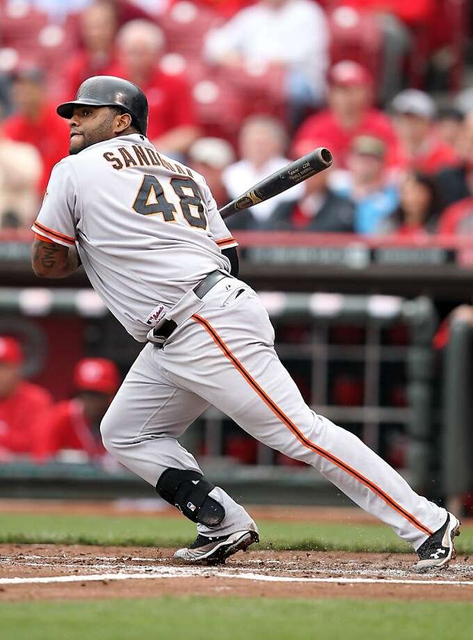 Pablo Sandoval #48 of the San Francisco Giants hits a single during the game against the Cincinnati Reds at Great American Ball Park on April 26, 2012 in Cincinnati, Ohio. Photo: Andy Lyons, Getty Images