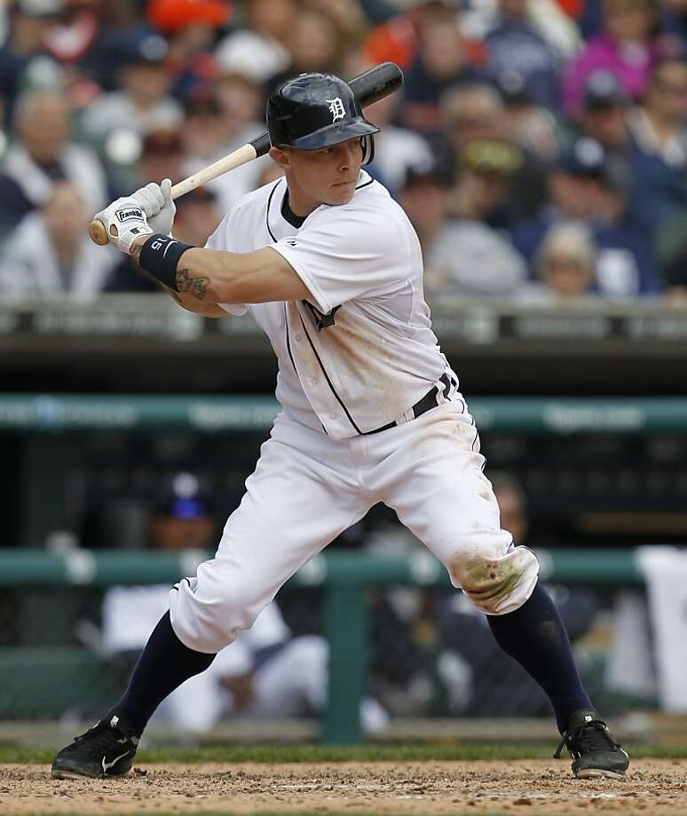 In this Saturday, April 21, 2012 photo, Detroit Tigers' Brandon Inge bats against the Texas Rangers in a baseball game in Detroit. The Detroit Tigers released the slumping Inge on Thursday, April 26. (AP Photo/Paul Sancya) Photo: Paul Sancya, Associated Press
