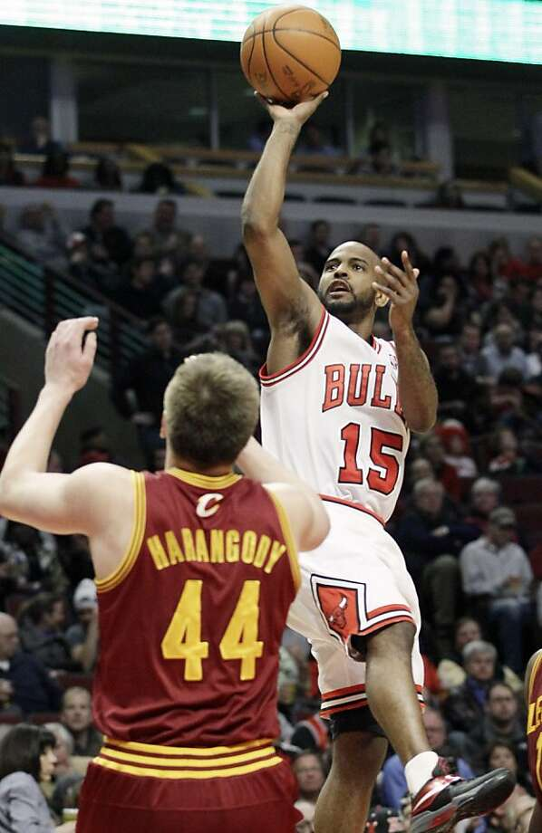Chicago Bulls guard John Lucas III (15) shoots over Cleveland Cavaliers forward Luke Harangody (44) during the second half of an NBA basketball game in Chicago, Thursday, April 26, 2012. The Bulls won 107-75. (AP Photo/Nam Y. Huh) Photo: Nam Y. Huh, Associated Press