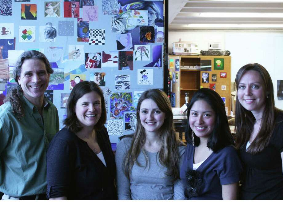 Gearing up for Sunday's art show are from left to right: NHS teachers Duffy Franco and Lauren DeLong, students Nicole Chiaramonte and Jazmin Sanchez, and NHS teacher Donna Ellett. Photo: Contributed Photo
