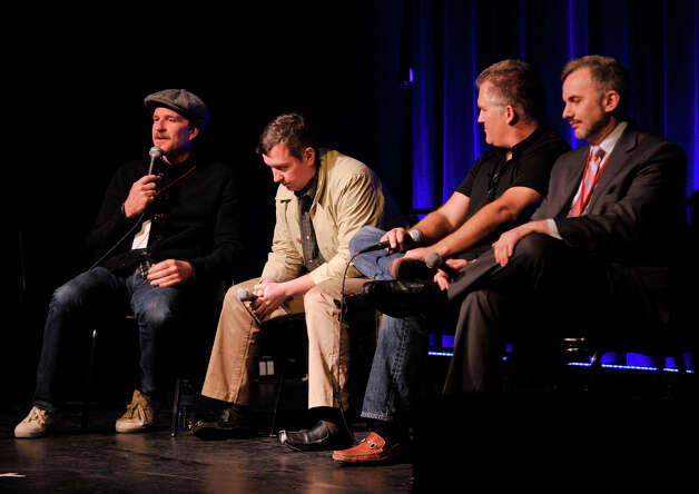 "From left, Matthew Modine, Roddy Boyd, Nick Verbitsky and Eric Kolchinsky answer questions about the Wall Street meltdown during a panel discussion after the showing of ""Confidence Game"" at the Connecticut Film Festival at the Palace Theatre in Danbury, Conn., on Thursday, April 26, 2012. Photo: Jason Rearick / The News-Times"