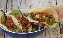 Barbecued chile tacos for Jacqueline Higuera McMahan's South to North column. Cinco de Mayo fiesta.
