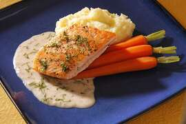 Salmon with Dill-Mustard Sauce as seen in San Francisco, California on April 25, 2012. Food styled by Lynne Bennett.