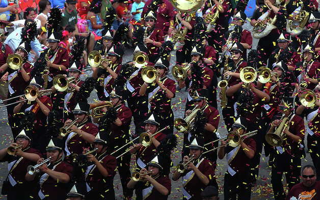 The Harlandale High School Marching Band Plays For Parade
