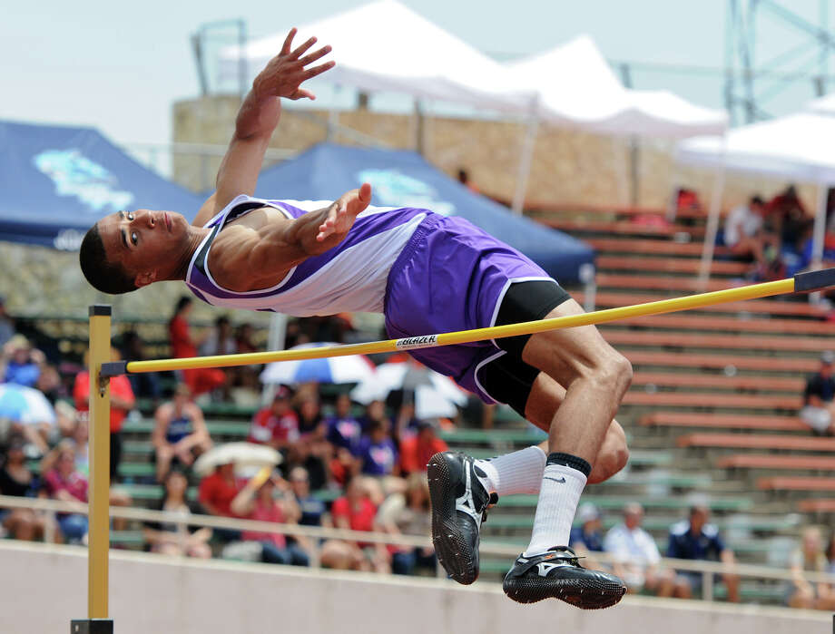 San Marcos senior Allex Austin clears the bar during the high jump competition. Austin, the defending state champion, won the Region IV-5A meet with a jump of 6 feet, 10 inches on Friday, April 27, 2012 at Alamo Stadium. Photo: John Albright, For The Express-News