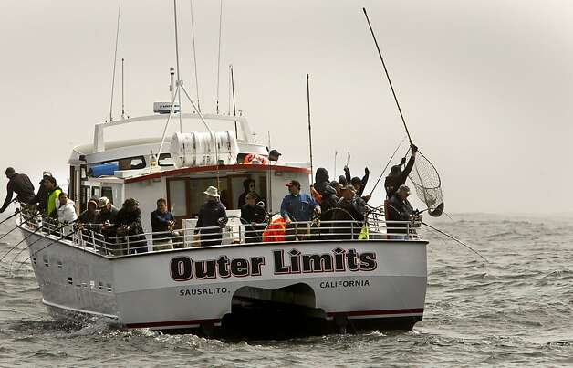 "Sport fishing boat, ""Outer Limits"" out of Sausalito with a full load of anglers aboard, fishes for Chinook (king) salmon along the Pacific Ocean off the coast of  San Francisco, Ca., on Saturday April 21, 2012. Photo: Michael Macor, The Chronicle"